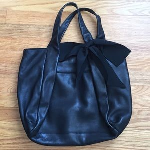 Ann Taylor Leather Tote with Bow